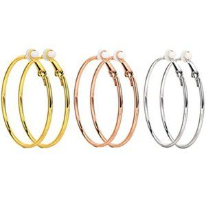 "1 40"" GOLD/ROSE GOLD/SILVER CLIP ON HOOP EARRINGS"